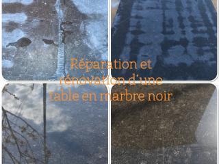 Rénovation & réparation d'une table en Marbre noir