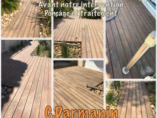 Traitement terrasse parquet bois à Bandol avant notre intervention - C. Darmanin (83)